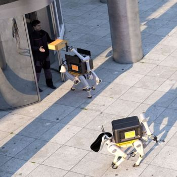 Continental CUbE dispatching its robodogs. Picture source: Continental media services
